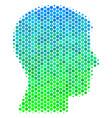halftone blue-green man head profile icon vector image vector image