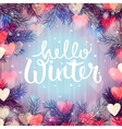 Hello winter blurred background Christmas lights vector image