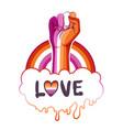 lesbian community poster design striped fist vector image