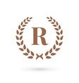 Letter R laurel wreath logo icon design template vector image vector image