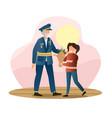 little girl is giving flowers to veteran in vector image