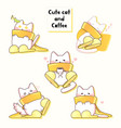 lovely white cat who wears yellow muffler vector image