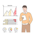 man with sheet paper charts and graphs vector image