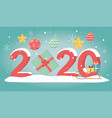 new year 2020 greeting card sled with gifts balls vector image vector image