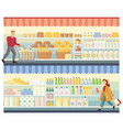 people are shopping at supermarket flat vector image