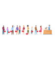 people queue man and woman standing waiting vector image