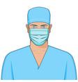 portrait doctor wearing medical mask vector image