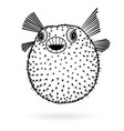 puffer fish fugu silhouette sharp icon vector image