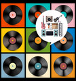 retro music background vinyl records with vector image vector image