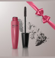 set of realistic mascara and brush stroke beauty vector image vector image