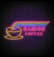 shining and glowing rainbow neon coffee sign vector image