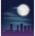 silhouette of night city buildings dark vector image
