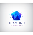 trendy flat design facet crystal gem shape logo vector image