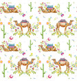 watercolor camel pattern vector image vector image