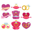 wedding and engagement rings isolated accessory on vector image