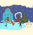 winter street with people on holiday couples vector image vector image