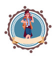 woman backpacker travel with rucksack hiking icon vector image