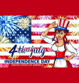 woman salute with little usa flag july 4th vector image vector image