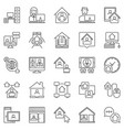 work from home line icons set freelance vector image