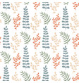 colorful leaves seamless pattern hand-drawn vector image
