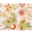 Seamless pattern with ethnic Indian symbols sun vector image
