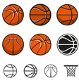 Set of basketball balls vector image