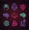 artificial intelligence neon light icons set vector image vector image