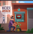 bank hacking cartoon vector image vector image