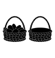 Baskets empty and with eggs silhouettes vector image vector image