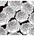 black and white graphic roses seamless pattern vector image