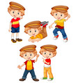 boy with happy face in different costumes vector image vector image