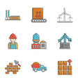 build industry icons set cartoon style vector image vector image