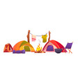 camping and hiking equipment tents and tools set vector image vector image