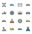 car icons colored line set with sport gear tesla vector image vector image