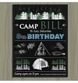 chalk board invitation for birthday on the camp vector image vector image