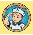 child sailor ship kids game retro vector image