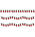 christmas lights string red garland set is vector image