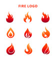 colorful flame of fire logo isolated on white vector image vector image