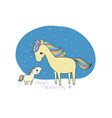 cute cartoon unicorn and her baby vector image