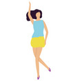dancing woman raising hand up disco dancer vector image vector image