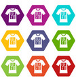 electronic t-shirt icon set color hexahedron vector image vector image
