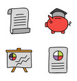 finance and banking doodle icons vector image vector image