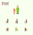 flat icon people set of mother grandchild boys vector image vector image