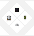 flat icon technology set of cpu resist display vector image vector image