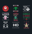 funny christmas graphic prints set t shirt vector image vector image