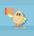 funny easter chick hatching egg holding delivery vector image