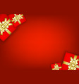 gift boxes christmas on red background vector image vector image