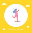girl riding on skateboard in park cartoon banner vector image