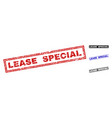 grunge lease special scratched rectangle stamp vector image vector image