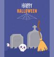 happy halloween skull broom tombstones spooky eye vector image vector image